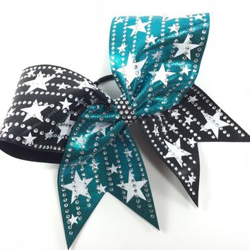 2 color mystique bow with glitter stars and crystals