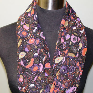 Bold, Colorful, Floral, Purple, Yellow Infintiy Scarf