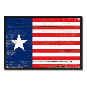 Texas Navy Texan Revolution 1838-1846 Naval Jack Military Flag Vintage Canvas Print with Picture Frame Home Decor Man Cave Wall Art Collectible Decoration Artwork Gifts