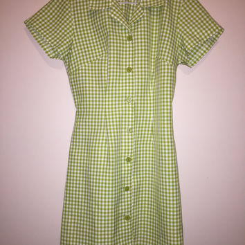 Vintage 90's green and white checkered shirt dress.  Retro 60's style button up dress.  size small