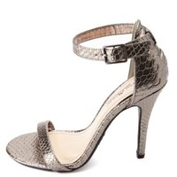 Anne Michelle Python Single Sole Ankle Strap Heels - Pewter