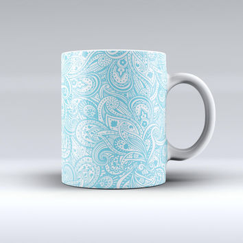 The Light Blue Paisley Floral ink-Fuzed Ceramic Coffee Mug