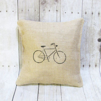 Burlap Decorative Accent Pillow - Handcrafted Burlap Pillow With Black Bike Stencil Accent