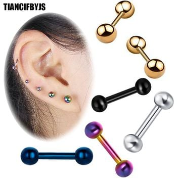TIANCIFBYJS 2pcs Ear Cartilage Tragus Earring Stainless Steel Piercing Helix Barbell Woman Ear Stud Lip Piercing Body Drop