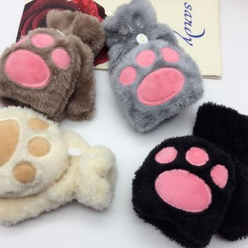 120pairs/lot new fashion half finger cat paw gloves Mitten/animal paw gloves