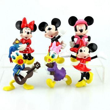 Disney Toys 6Pcs/Lot Mickey Mouse Cartoon  Anime PVC Action Figures Minnie Mouse Figurines Collectible Dolls Kids Toys For Girls