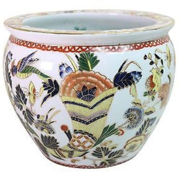Cute Imari Style Floral Bird Porcelain Mini Fish Bowl Pot 5.5""