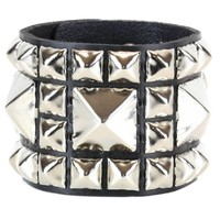 "Huge & 4 Row Smaller Pyramid Stud Black Leather Wristband Cuff Bracelet 2-1/4"" Wide"