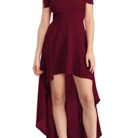 Burgundy High Low Hem Off The Shoulder Party Dress