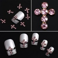 Yesurprise Pink Rhinestones Cross 10 pieces Silver 3D Alloy Nail Art Slices Glitters DIY Decorations