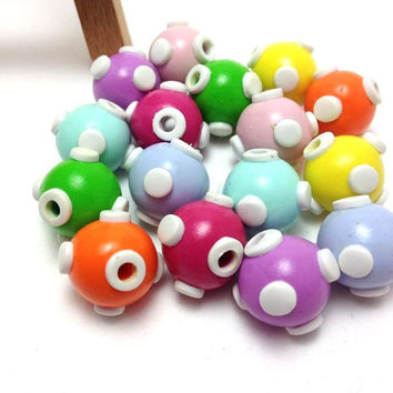 Polymer Clay Beads, Clay Beads, Handmade Beads, Craft Supplies, Jewelry Making, Favor Decor, Round Beads, Multicolor Beads