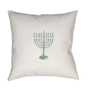 Holiday Hanukkah Menorah Pillow ~ Green