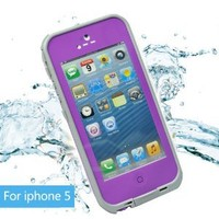 Leang Waterproof Shockproof and Dirtproof Case for iPhone 5 Life Dirt Proof Case Purple + Cleaning Cloth