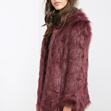 FOREVER 21 Collarless Faux Fur Jacket Eggplant