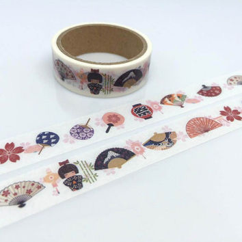 kokeshi dolls tape 5M Kimono doll vintage pattern washi tape Kawaii Japanese doll colorful fan little cute thing sticker tape Asian pattern