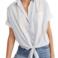 Madewell Stripe Tie Front Short Sleeve Shirt | Nordstrom