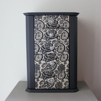 Chalkboard tabletop jewelry armoire with floral paisley decoupage - Jewelry holder, jewelry organizer, painted jewlery box, gift idea