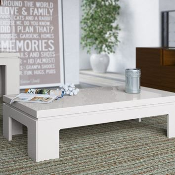 "Bridge 2.0- 41.65"" Length Modern Off White Gloss Accent Side Coffee Table"