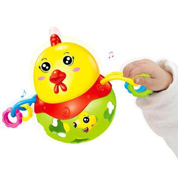 Cute Chicken Baby Rattle Musical Mobile Baby Music Toy Handbell Shaking Baby Toys Jingle Bell Kids Education Toys Christmas Gift