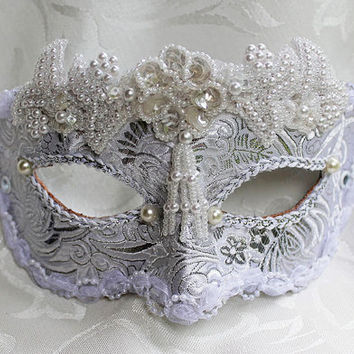 White and Silver Satin Brocade and Leather Bridal Masquerade Mask