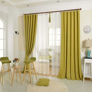 Solid Color Linen Curtain  Linen Tulle Window Decoration