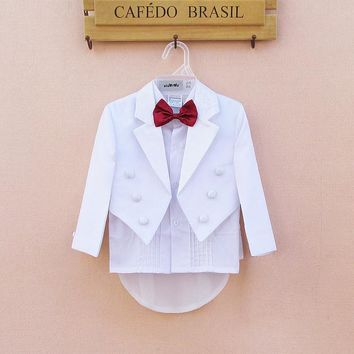White Baby Boys Party Wedding Suits 5 Pieces Formal Tuxedo Suit Newborn Baby Boy Baptism Christening Party Wedding Clothing Set