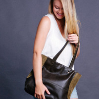 Green leather bag -  leather purse - Everyday bag - Magnetic closure - Miri bag