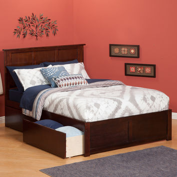 Madison Full Bed Flat Panel Footboard 2 Urban Bed Drawers Antique Walnut Finish