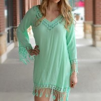Mint Fringe Shift Dress