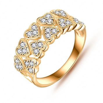 LZESHINE Wedding Jewelry Accessories Rings Gold/Silver Plated AAA Zircon Fine Jewelry Loving Heart  Rings  CRI0019