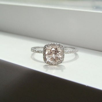 Halo Morganite Diamond Ring Gemstone Engagement Ring Custom Peach Pink Cushion Round Halo Setting 14K White Gold size