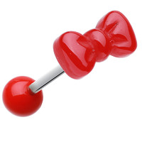 Cutesy Bow-Tie Acrylic Barbell Tongue Ring