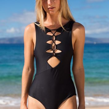 ACACIA Swimwear 2018 Mauka One Piece in Black Beauty