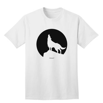 Wolf Howling at the Moon - Design #1 Adult T-Shirt by TooLoud