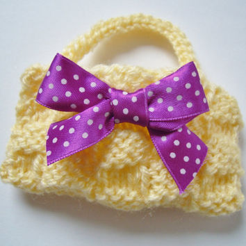 lalaloopsy blythe corelle pale yellow hand knit tote beach bag with purple polka dot ribbon bow  - chic spring time accessory