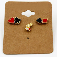 Black Poker Card And Rhinestoned Rabbit Earring