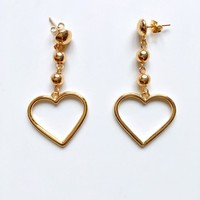 CHAIN BEAD HEART EARRINGS