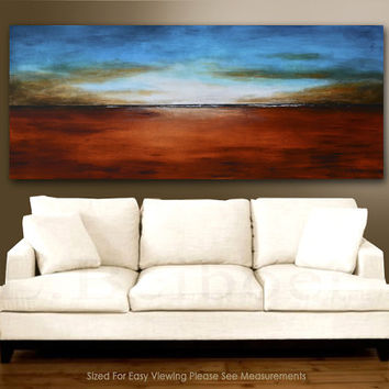 "Huge Painting Original 6 foot large abstract landscape painting 72"" blue brown seascape acrylic art by L.Beiboer FREE SHIPPING"