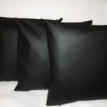 "4 Faux Leather Cushion Covers in Black Stylish Plain Design 16"" Scatter Pillows"