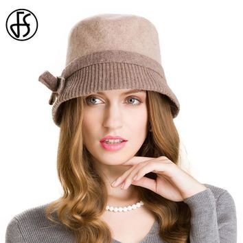 FS Fashion Brown Wool Fedora Winter Rabbit Knitted Hats For Women Bowknot Floppy Cloche Hat Female Warm Caps