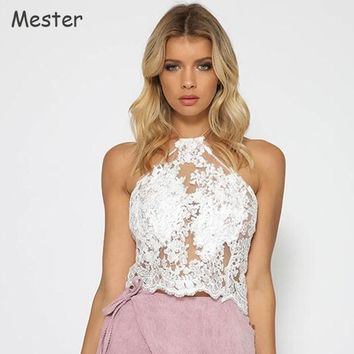 Women Floral Embroidery Lace Crop Top Halter Neck Lace Mesh Organza Short Halter Tops Sexy Off-the-Shoulder Unbacked Lace Vest