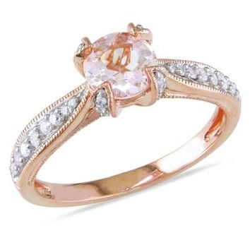 6.0mm Morganite and 1/5 CT. T.W. Diamond Promise Ring in Rose Rhodium Plated Sterling Silver