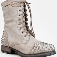 Breckelle's GEORGIA-28 Studded Lace Up Mid Calf Military Combat Boot,Georgia-28v2.0 Ice 8.5