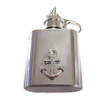 1 Oz. Stainless Steel Key Chain Flask with Nautical Ship Anchor Pendant