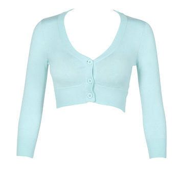 Cropped Cardigan in Pale Ice Blue