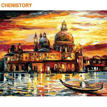 CHENISTORY Frameless Venice Landscape DIY Painting By Numbers Modern Wall Art Calligraphy Painting Handpainted For Home Decors