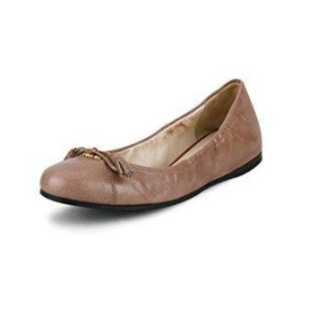 Prada Women's Crackled Leather Scrunch Ballet Flat, Taupe