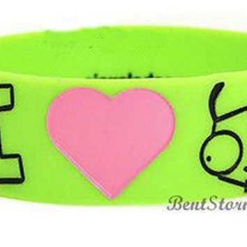 Licensed cool Invader Zim I HEART LOVE GIR Green rubber bracelet jewelry Officially Licensed