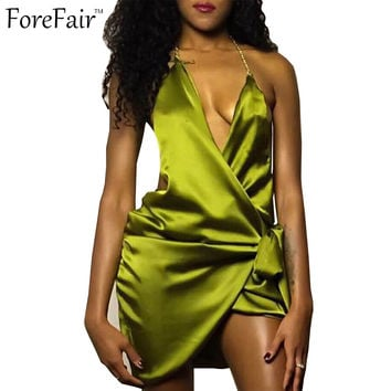 ForeFair summer 2016 silk trendy halter bodycon bandage party club dress cross deep v backless lacing slip sexy dress women