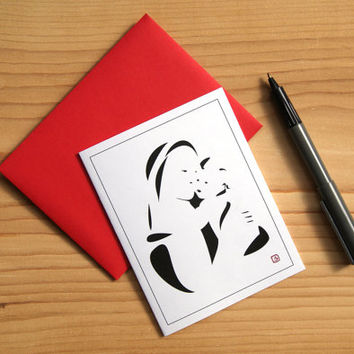Religious Art Card - Greeting Card - Invitation - Thank You Card - Mini Art - Graphic Madonna and Child - FREE SHIPPING